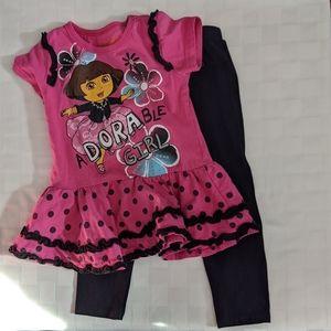 Dora Tee and Black Leggings